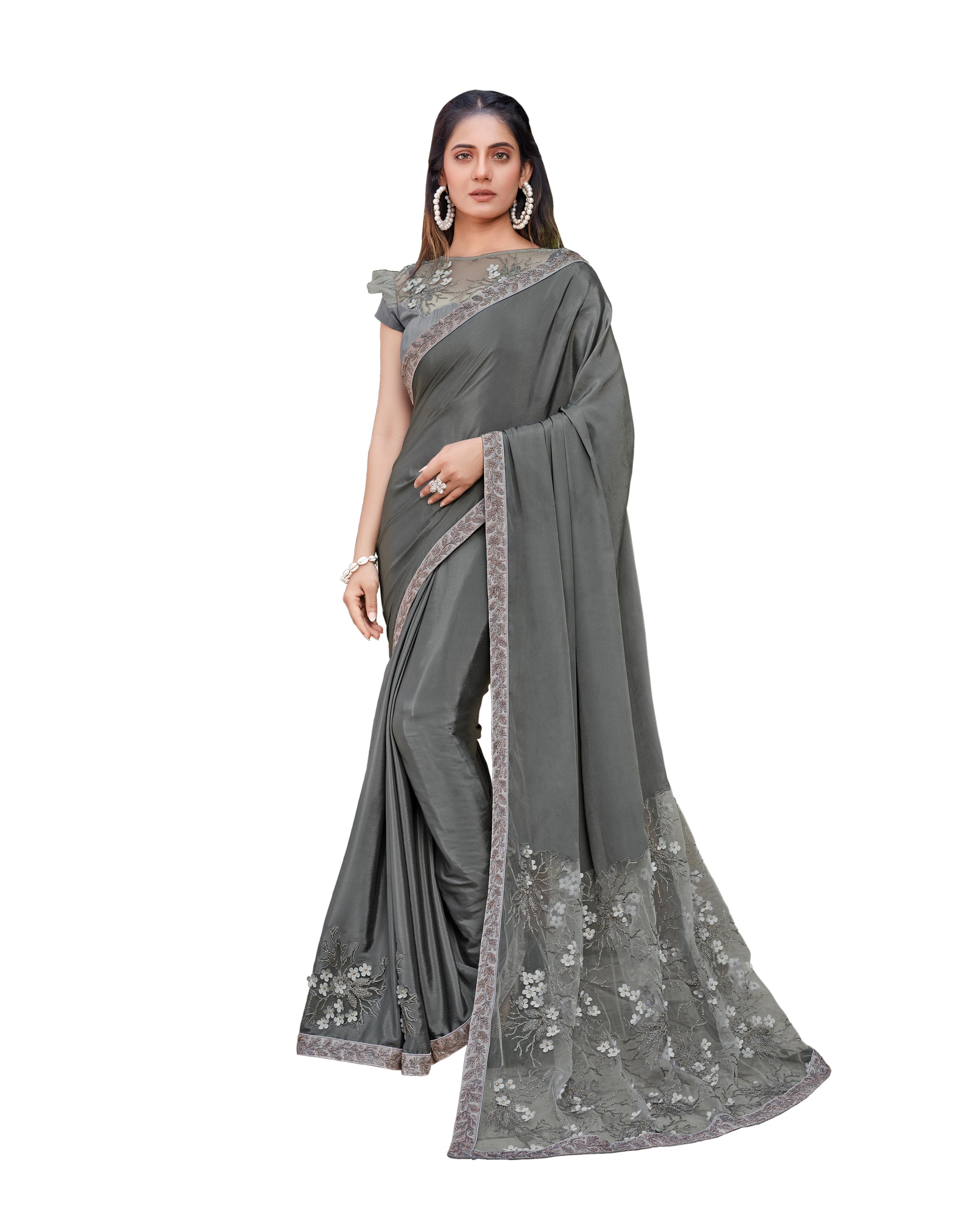 Grey Satin Silk Saree With Blouse MH25049
