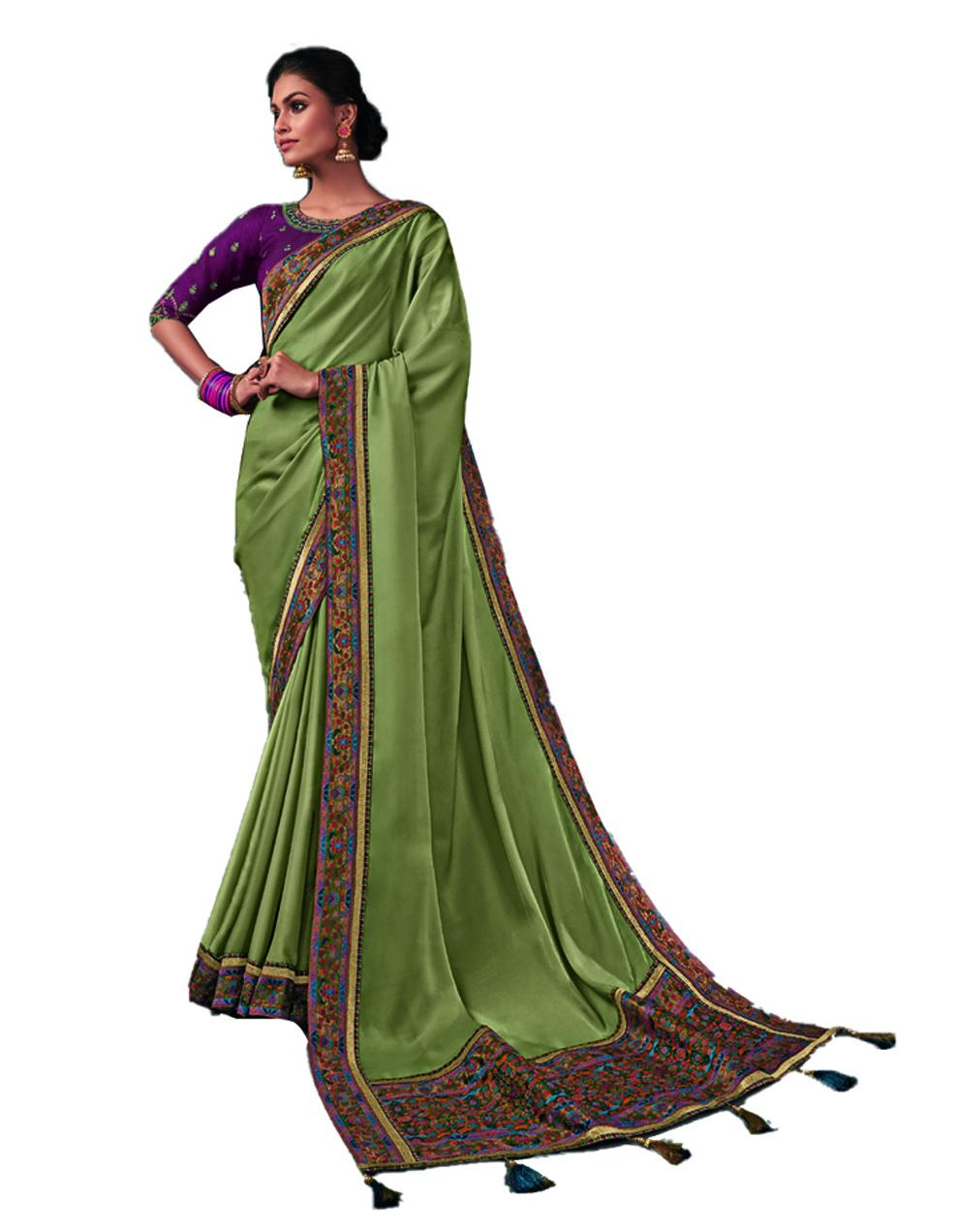 Pastel green Silk Saree With Blouse SD24199