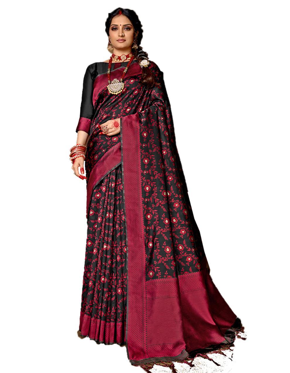 Multicolor Banarasi Silk Saree With Blouse SD24154