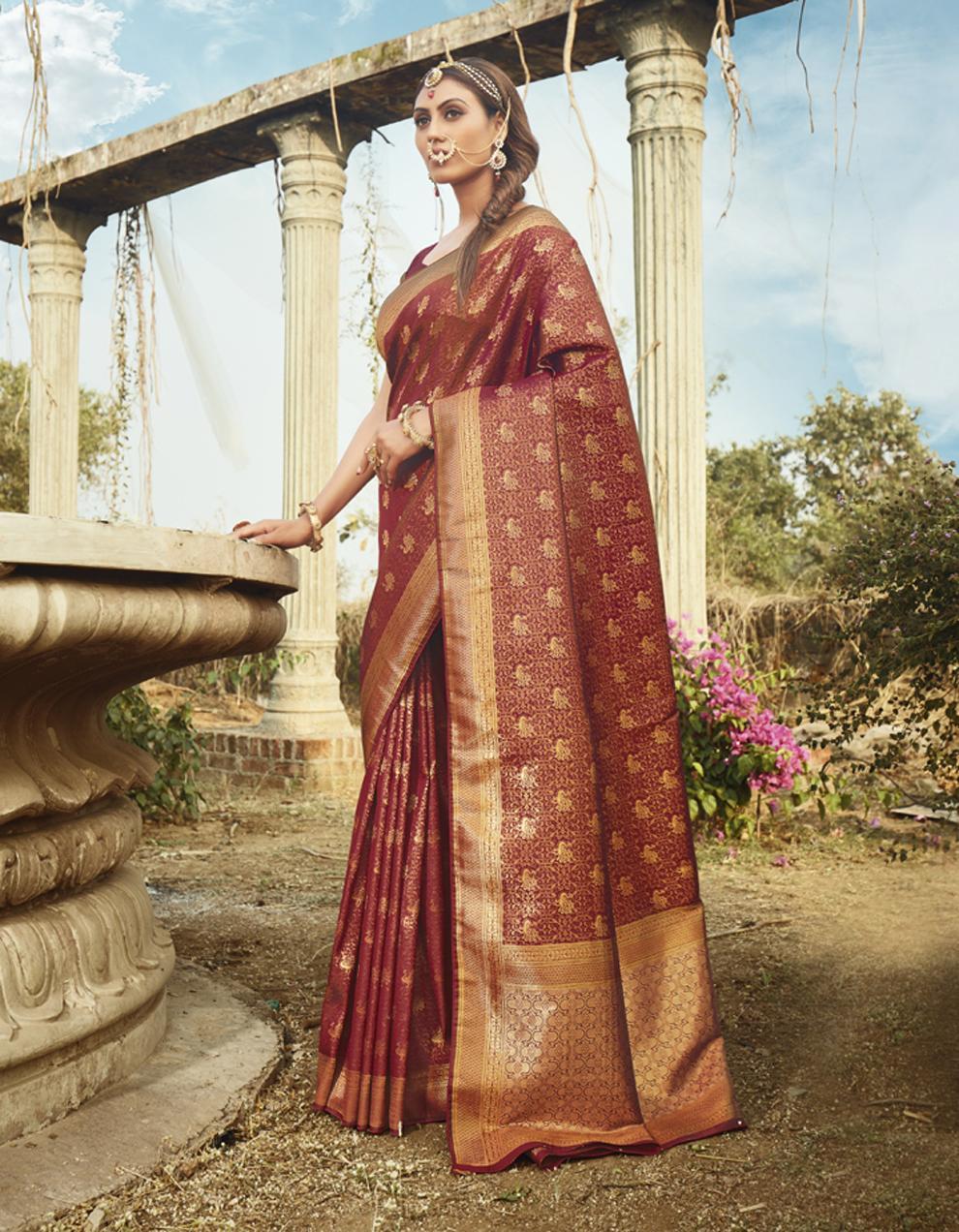 Brown Banarasi Silk Saree With Blouse SD25133