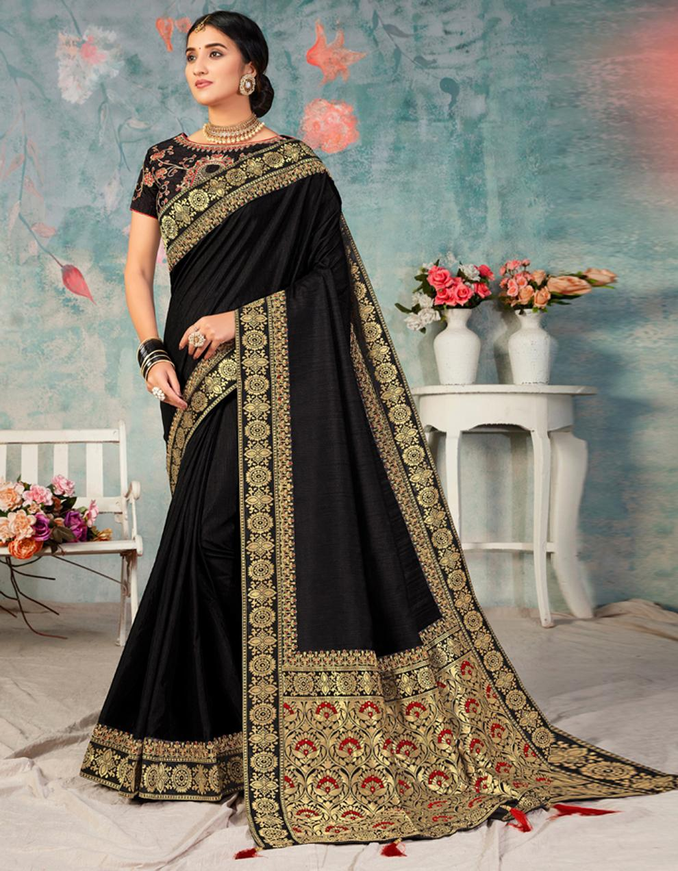 Black and Gold Poly Silk Saree With Blouse IW24463