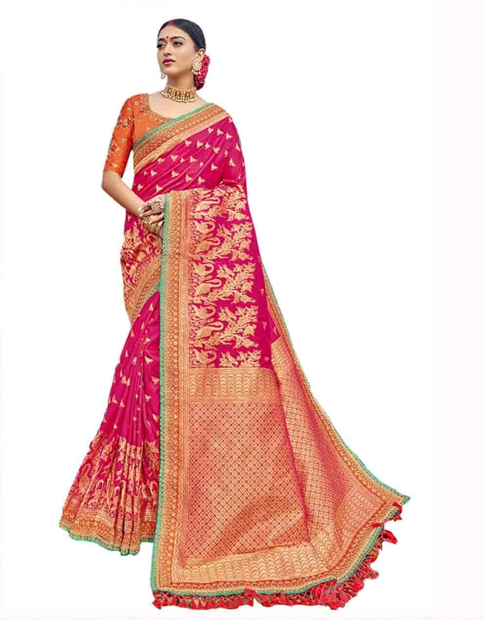 Pink Silk Saree With Blouse SD23768