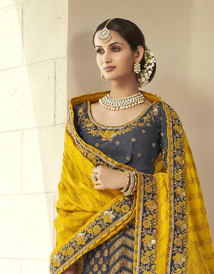 Banarasi Silk Dark grey Semi Stitched Lehenga with Choli And Dupatta LSD2814