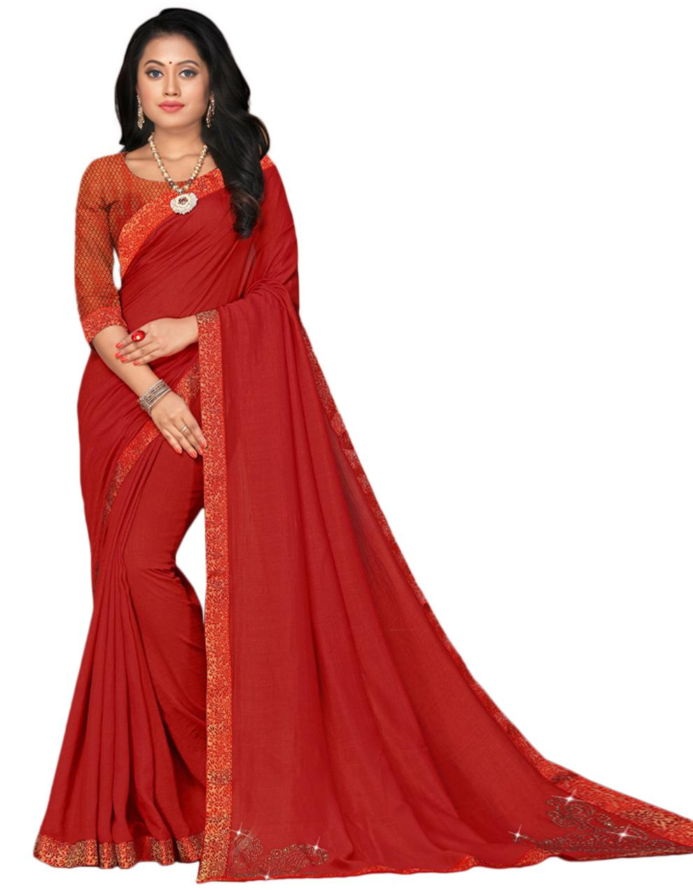 Red Vichitra silk Saree With Blouse IW24326