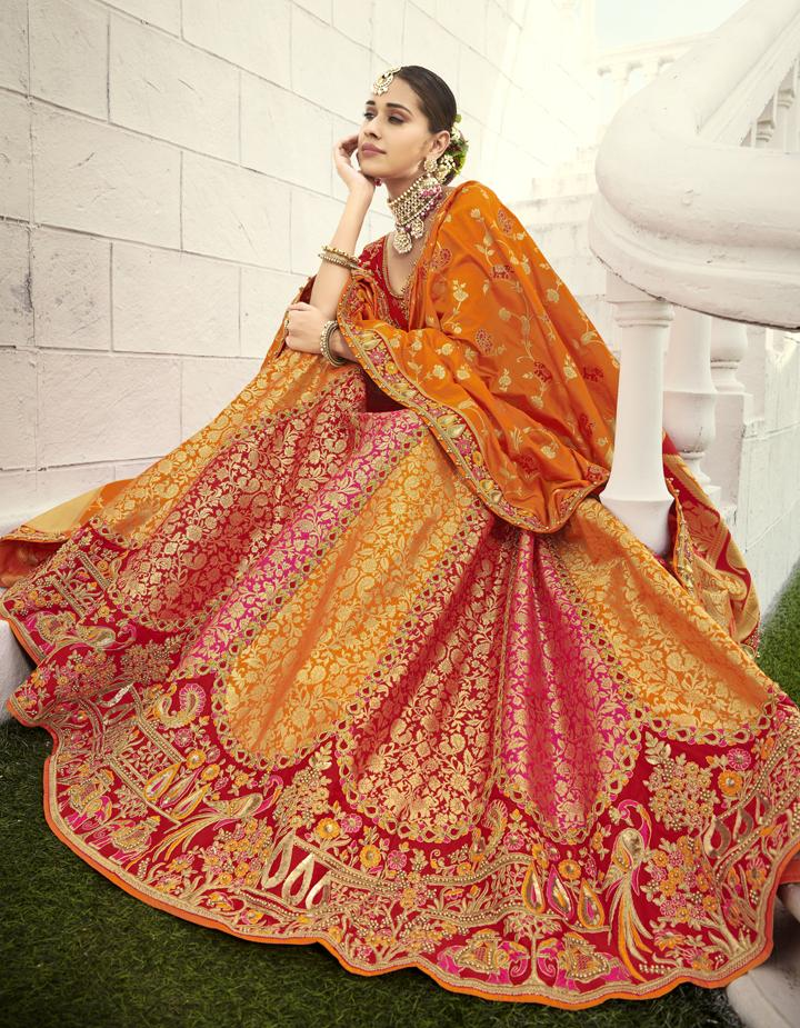 Banarasi Silk Multicolor Semi Stitched Lehenga with Choli And Dupatta LSD2807