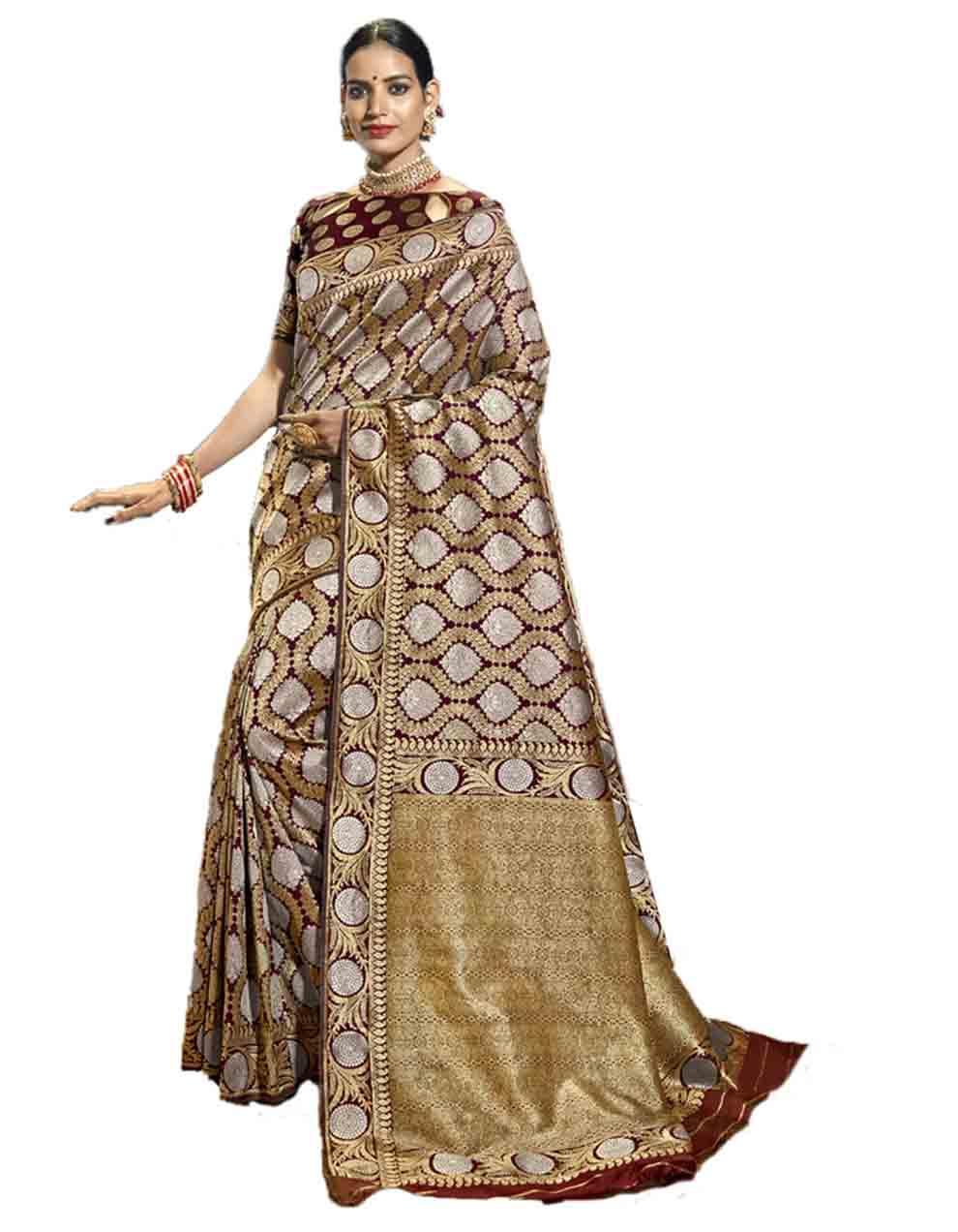 Multicolor Silk Saree With Blouse SD23755