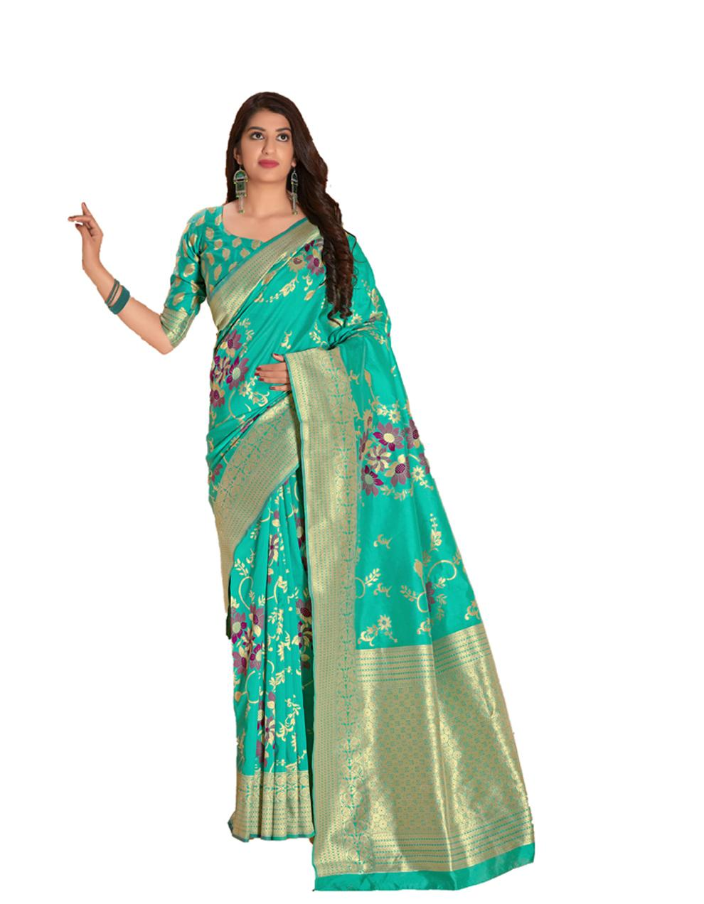 Green Silk Saree With Blouse SD23857
