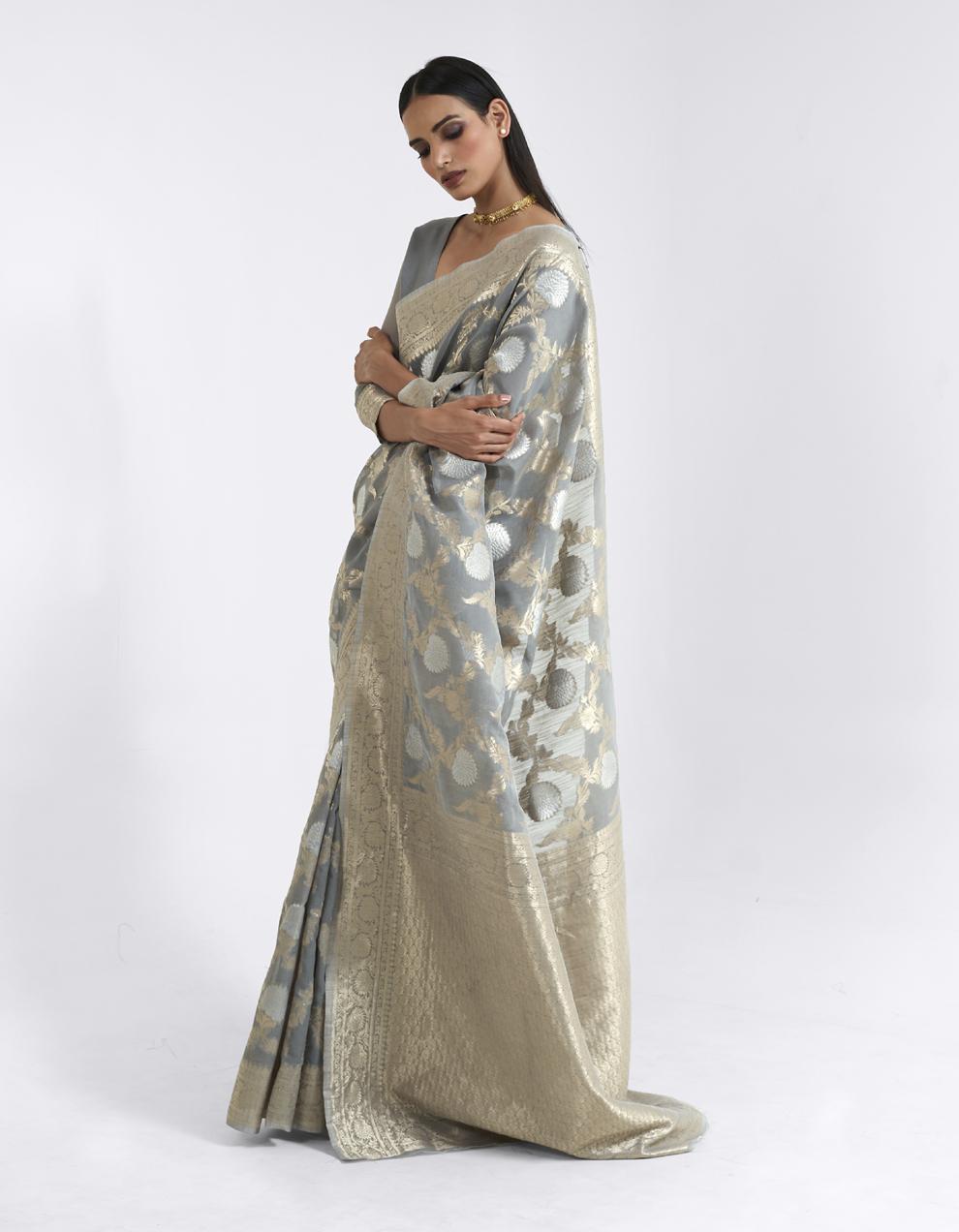 Dark grey Linen Saree With Blouse SD25179