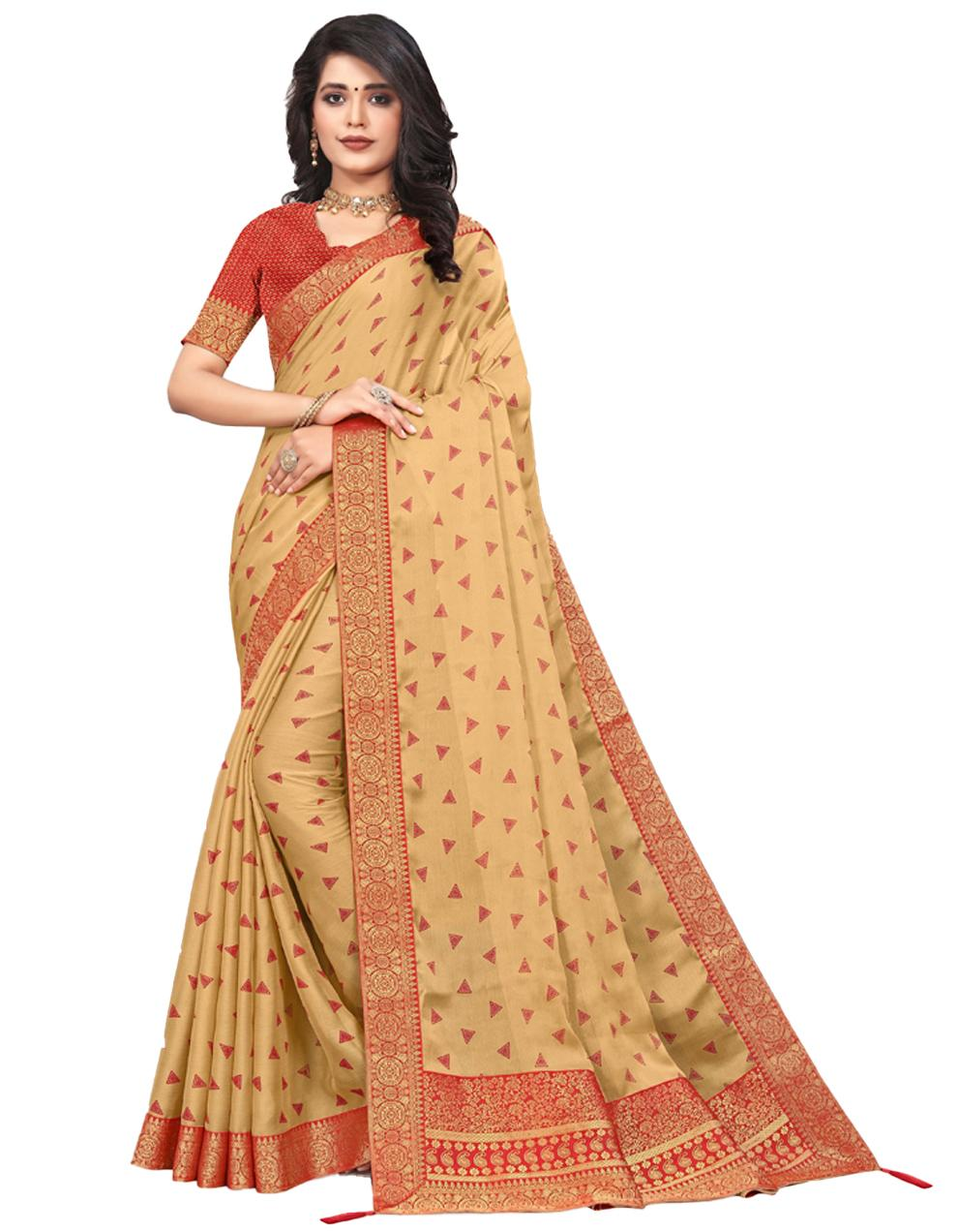 Beige Vichitra silk Saree With Blouse IW24374
