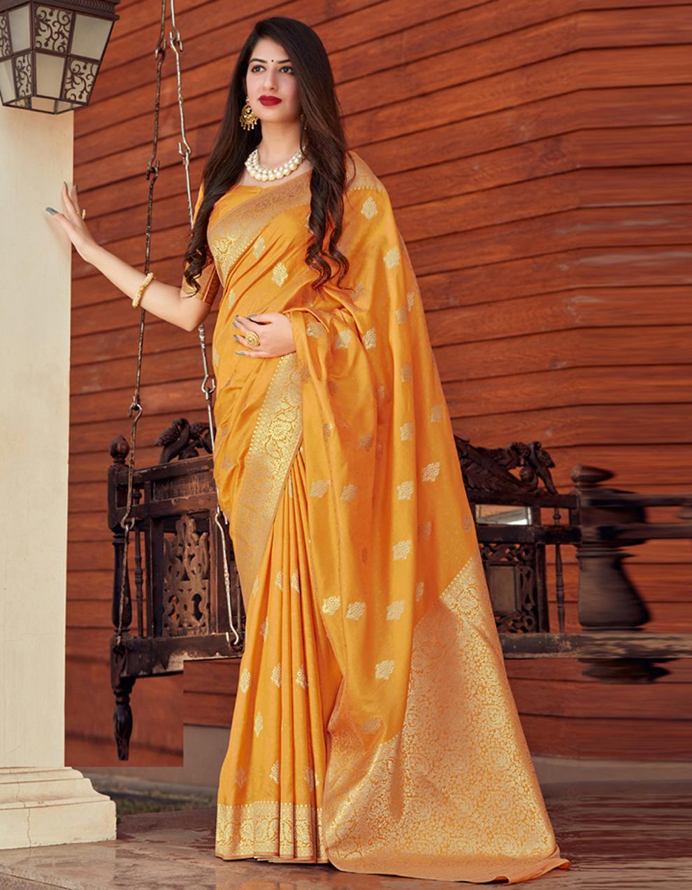 Yellow Silk Saree With Blouse SD24076