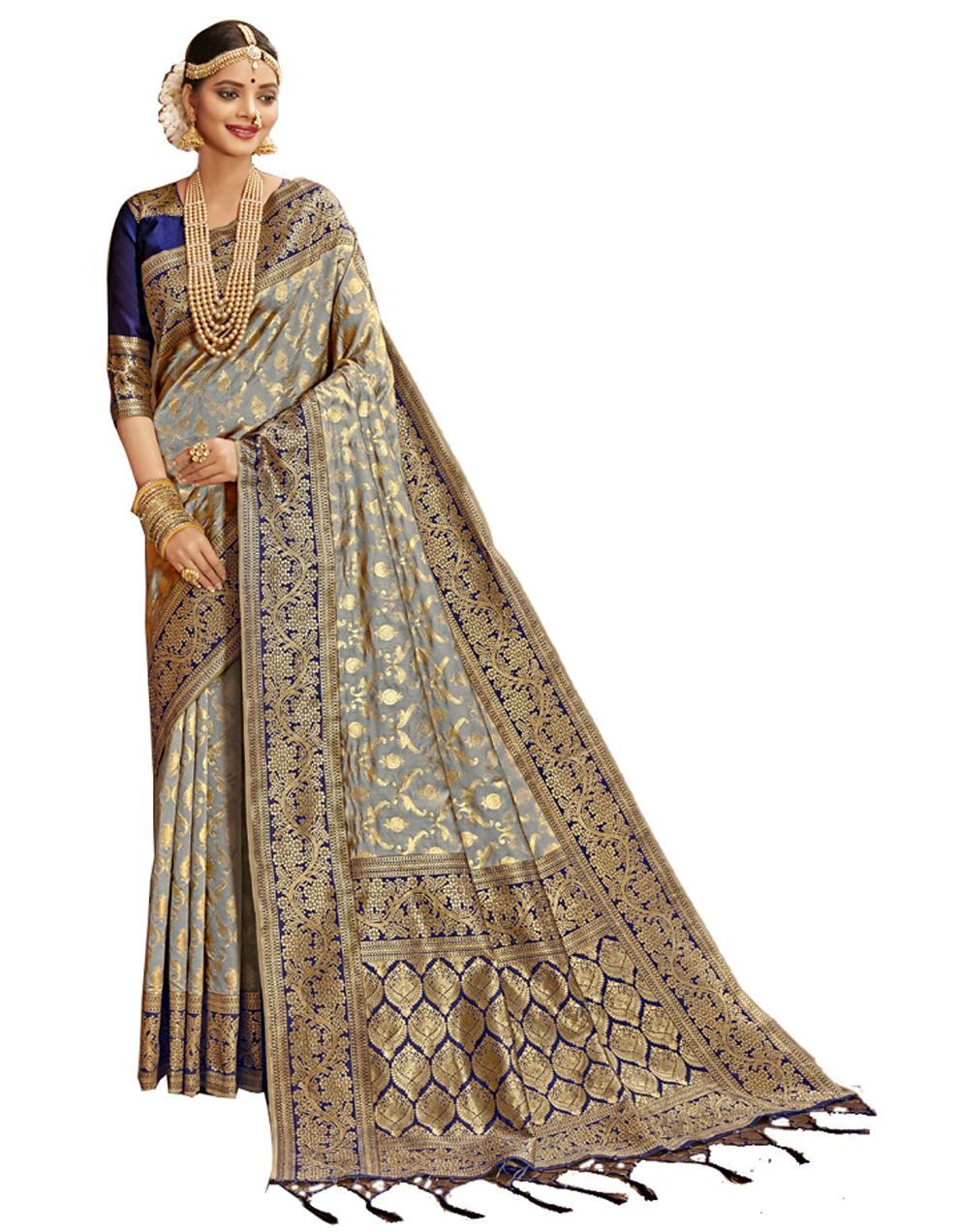 Multicolor Banarasi Silk Saree With Blouse SD24217