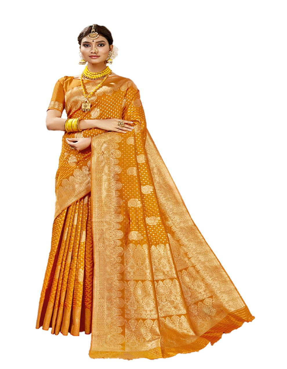 Yellow Banarasi Silk Saree With Blouse SD24185