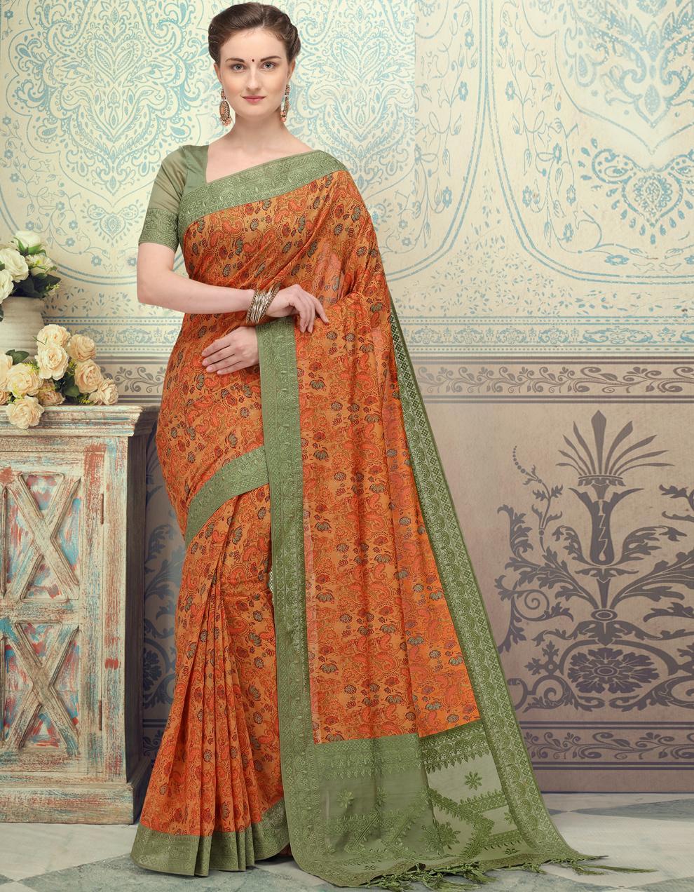 Multicolor Silk Saree With Blouse SD25200