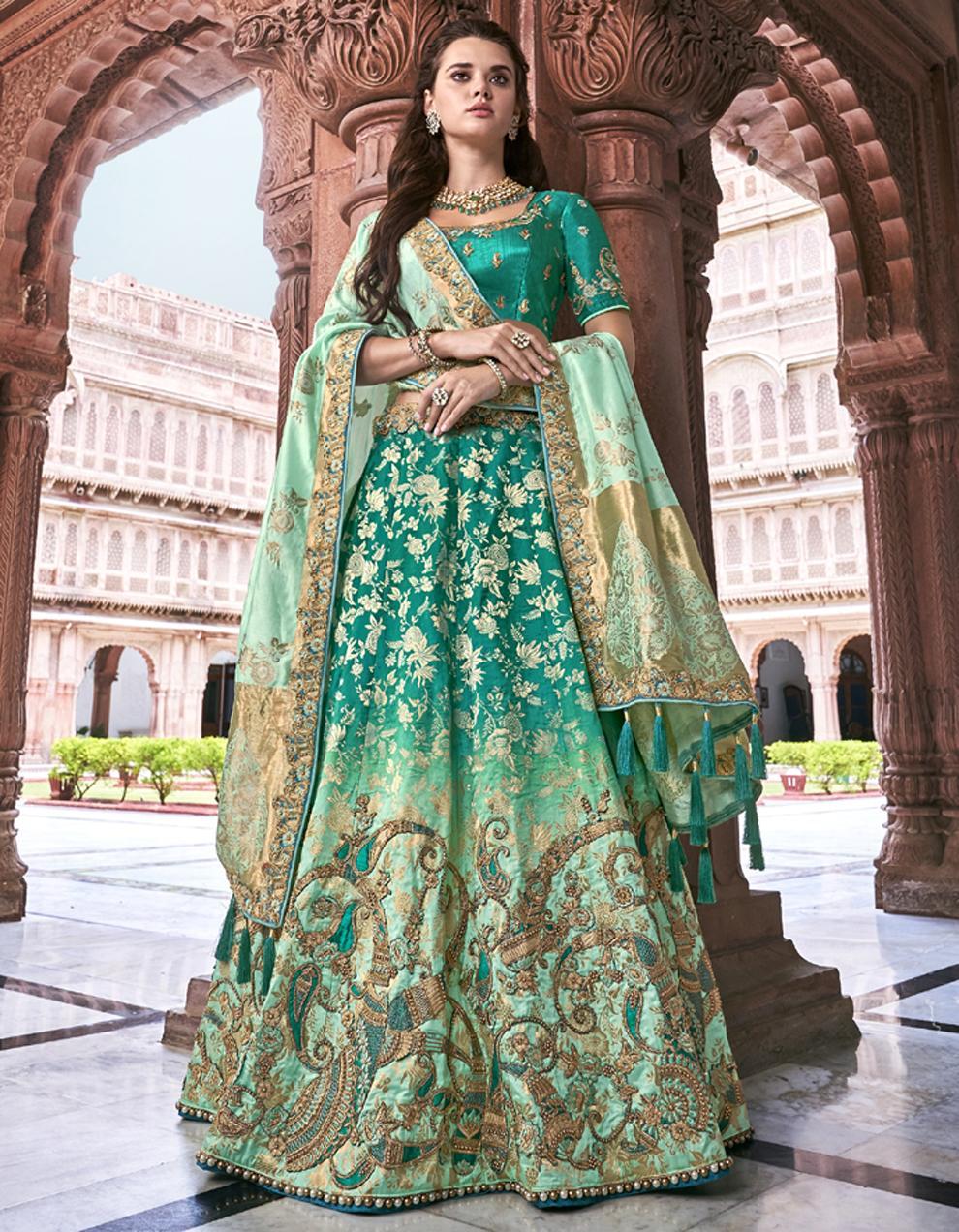 Banarasi Silk Aqua green Semi Stitched Lehenga with Choli And Dupatta LSD2788
