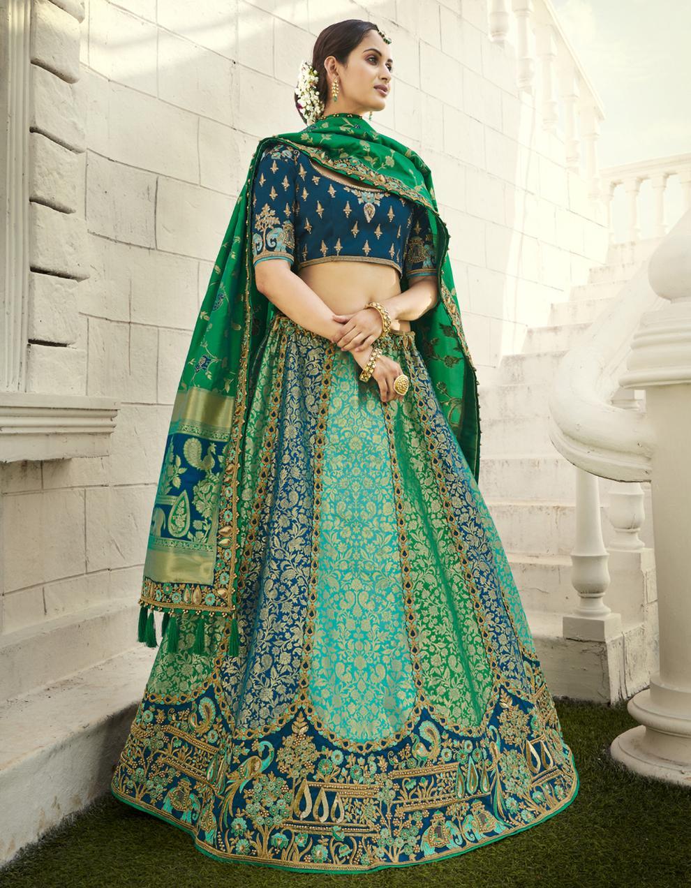 Banarasi Silk Multicolor Semi Stitched Lehenga with Choli And Dupatta LSD2806