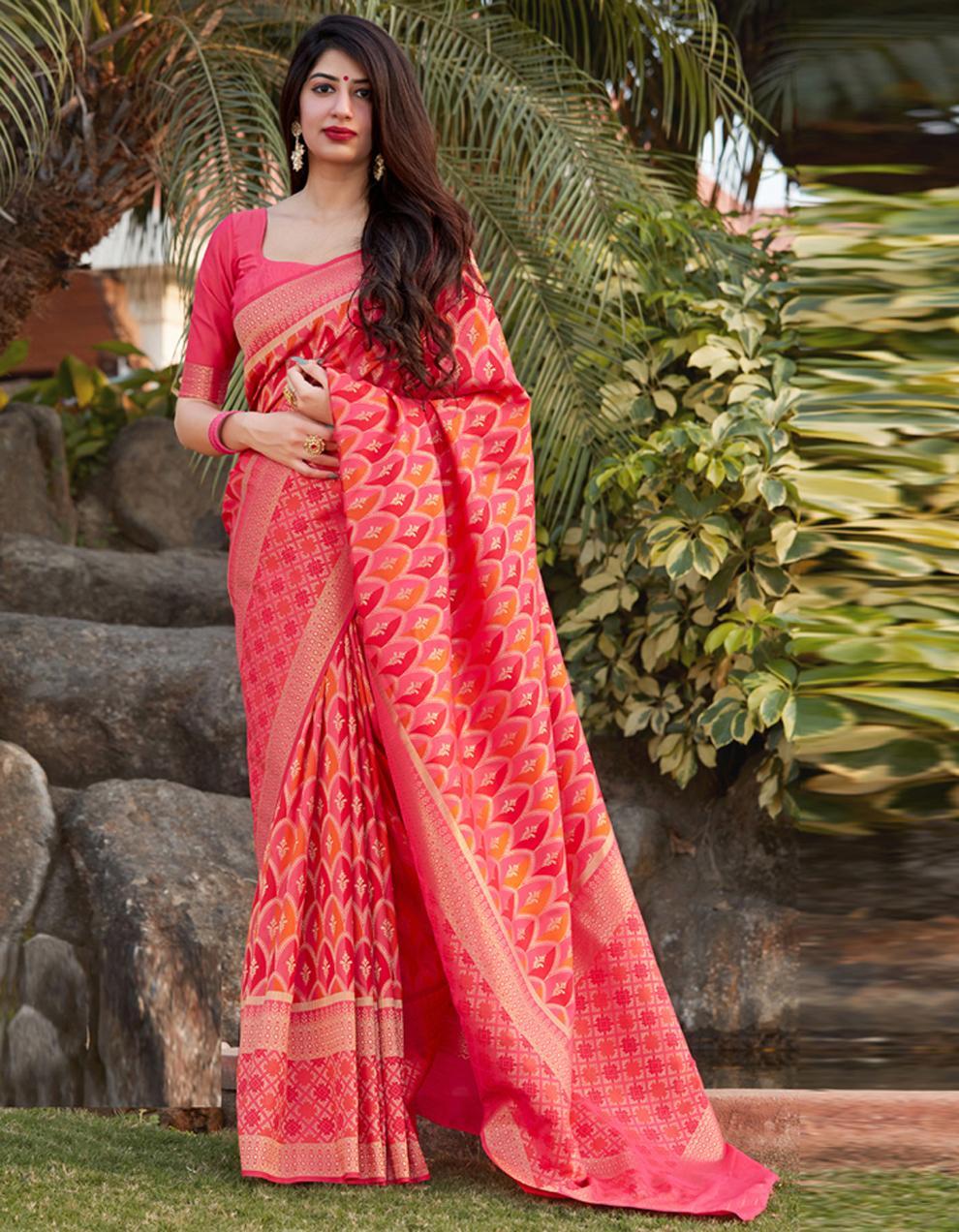 Multicolor Banarasi Silk Saree With Blouse SD24147