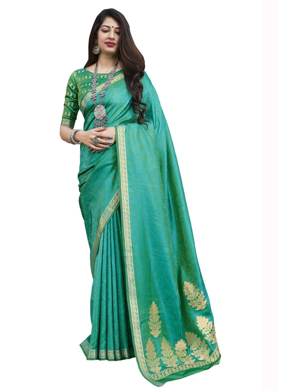 Green Banarasi Silk Saree With Blouse SD24188
