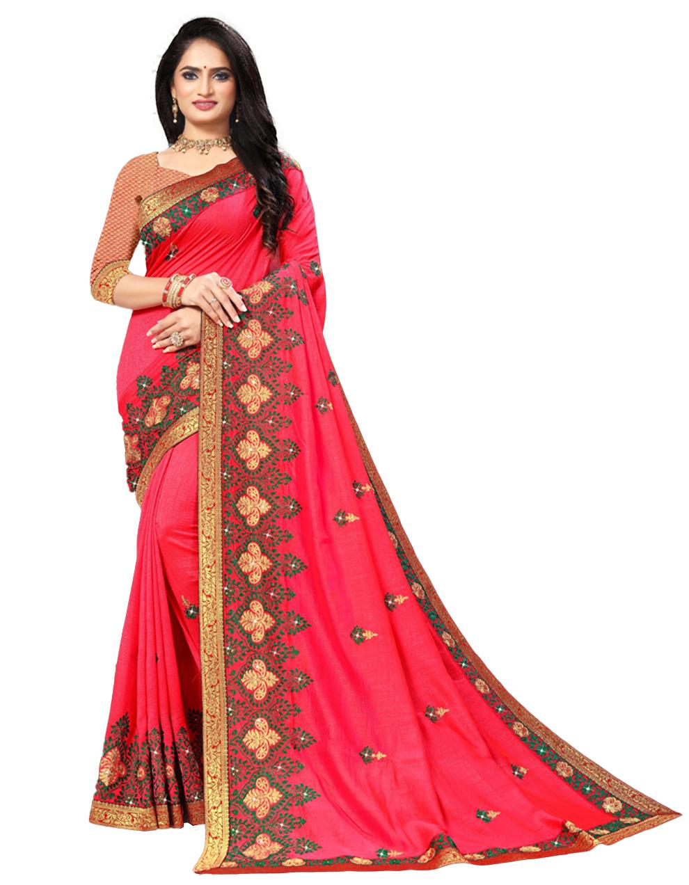 Pink Vichitra silk Saree With Blouse IW24387