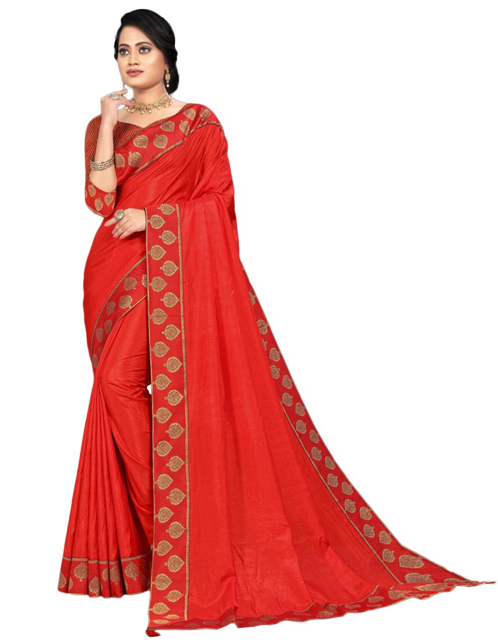 Red Vichitra silk Saree With Blouse IW24558