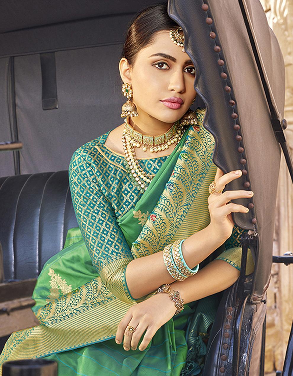 Green Silk Saree With Blouse SD23792
