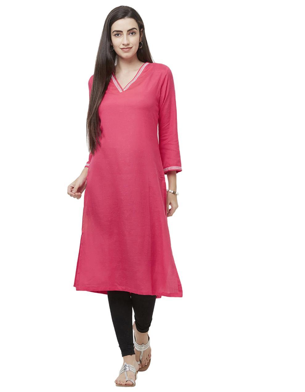 Viscose Linen Pink Straight Kurti KDB1302