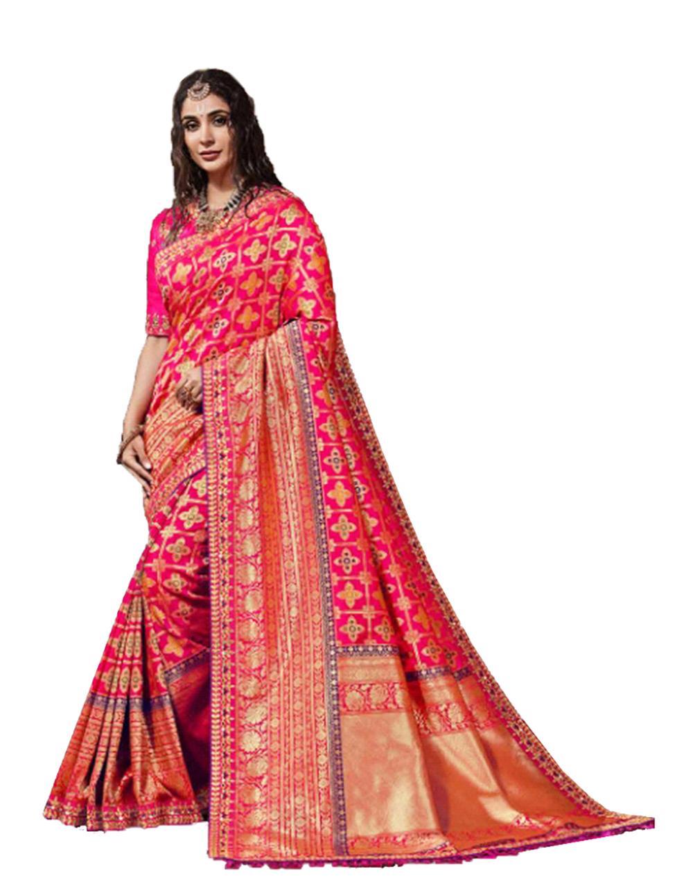 Pink Silk Saree With Blouse SD23885