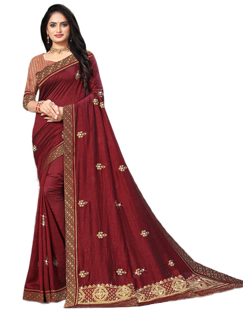 Maroon Vichitra silk Saree With Blouse IW24273