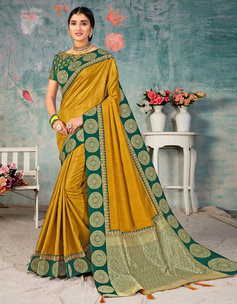 Yellow and Green Poly Silk Saree With Blouse IW24468