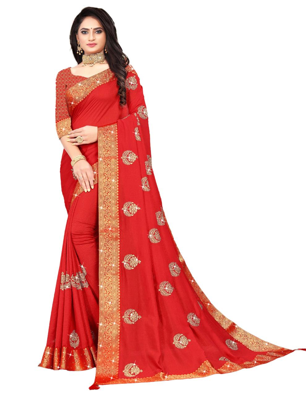 Red Vichitra silk Saree With Blouse IW24390