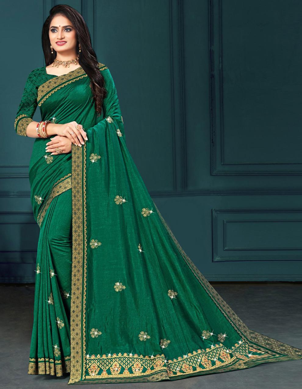 Green Vichitra silk Saree With Blouse IW24272
