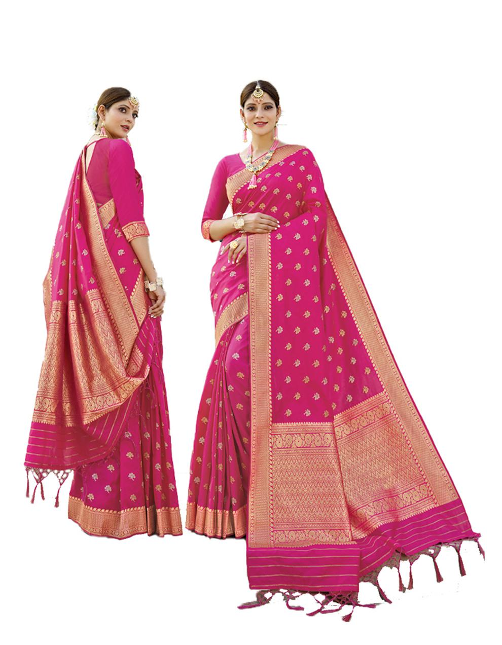 Pink Banarasi Silk Saree With Blouse SD24203