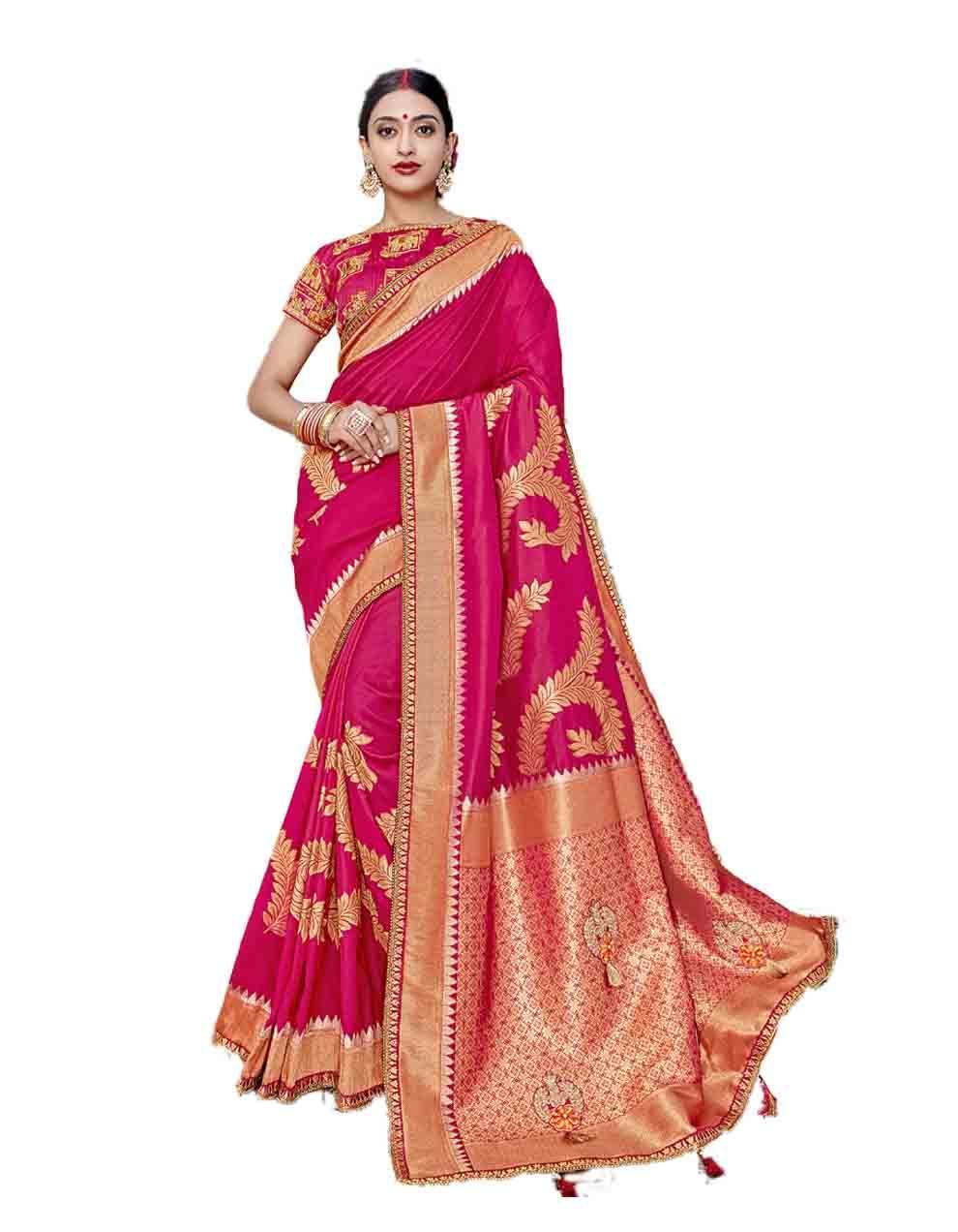 Pink Silk Saree With Blouse SD23766
