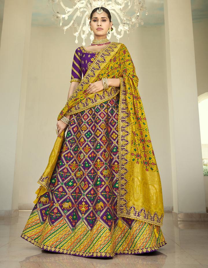 Banarasi Silk Purple Semi Stitched Lehenga with Choli And Dupatta LSD2812