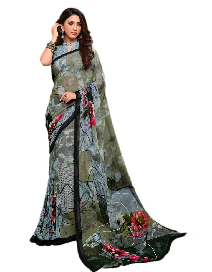 Multi Georgette Saree With Blouse IW24643