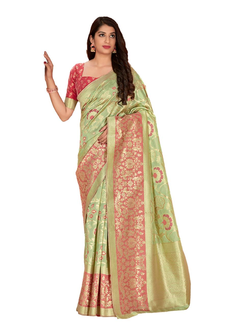 Multicolor Silk Saree With Blouse SD23859