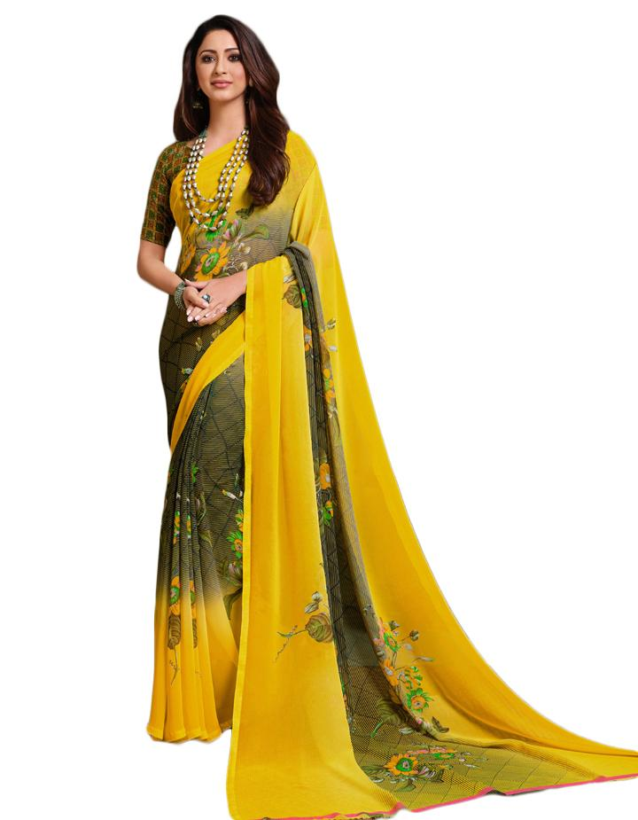 Yellow Georgette Saree With Blouse IW24635