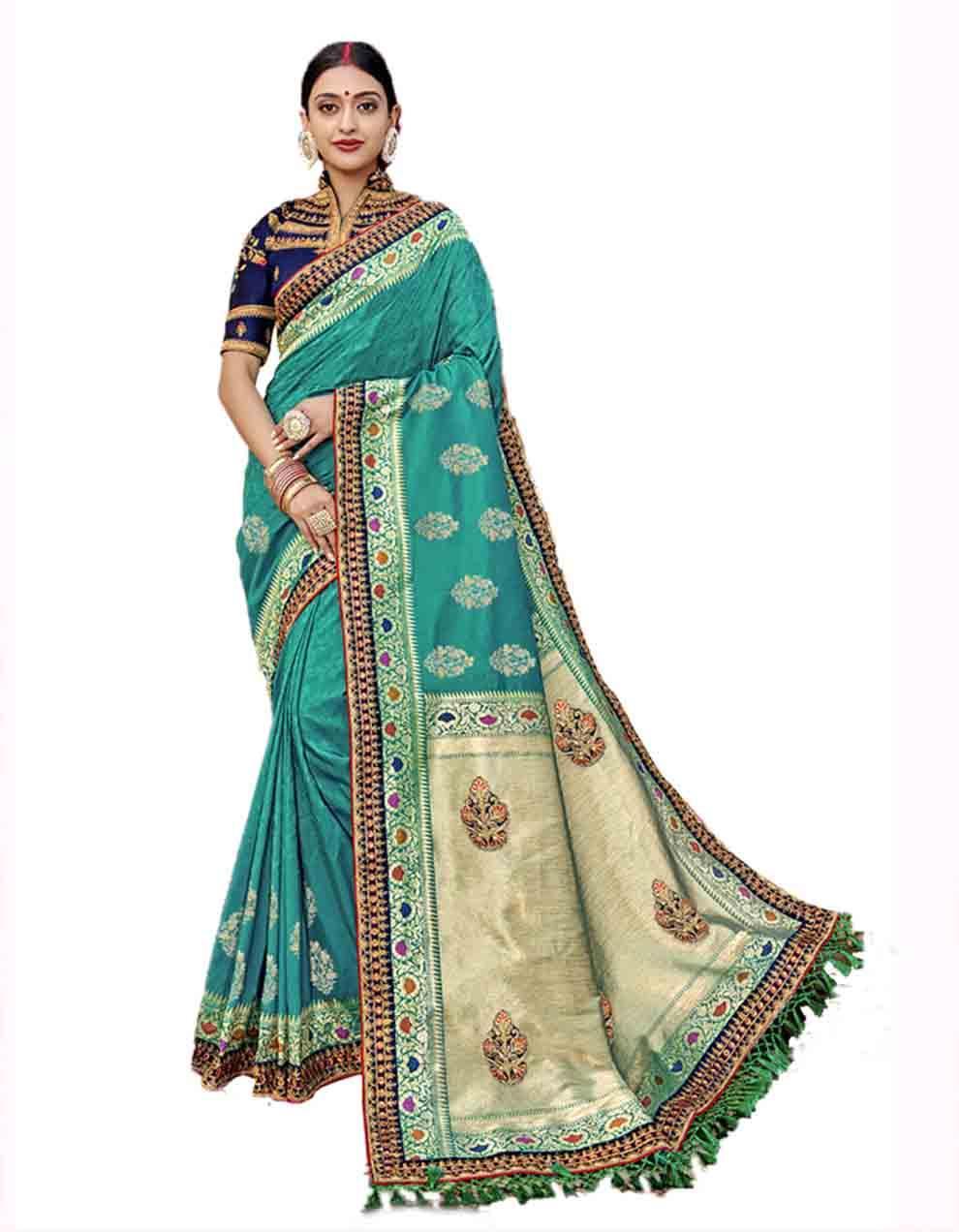 Green Silk Saree With Blouse SD23769