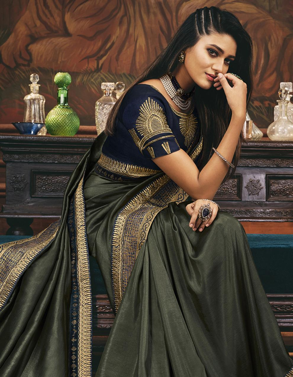 Olive green Silk Saree With Blouse SD24069
