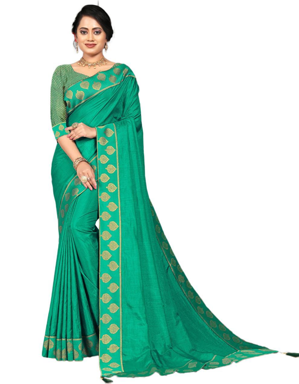 Green Vichitra silk Saree With Blouse IW24559