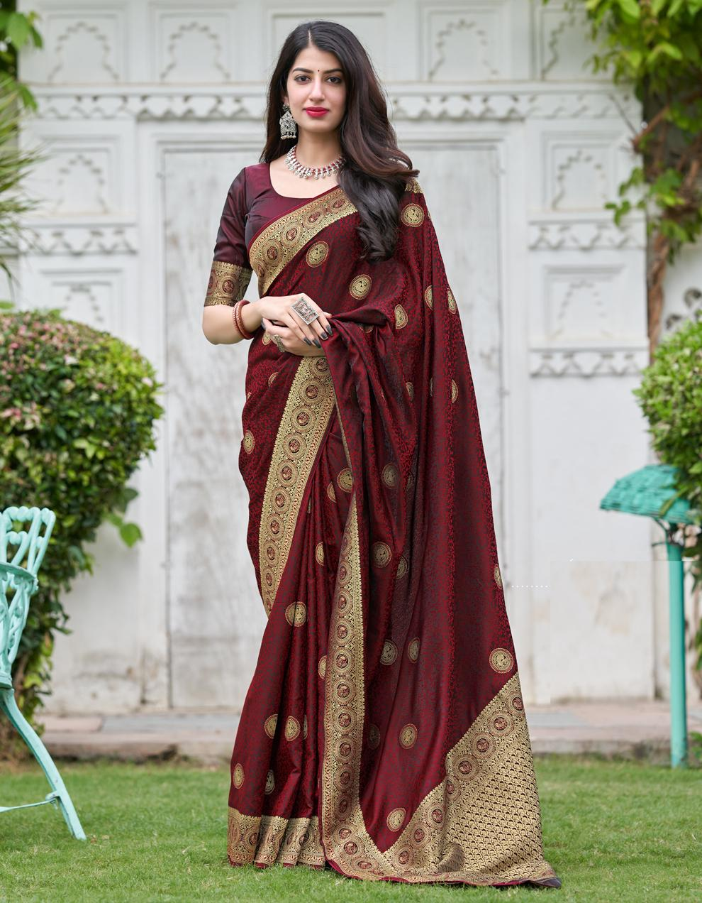Maroon Silk Saree With Blouse SD25267