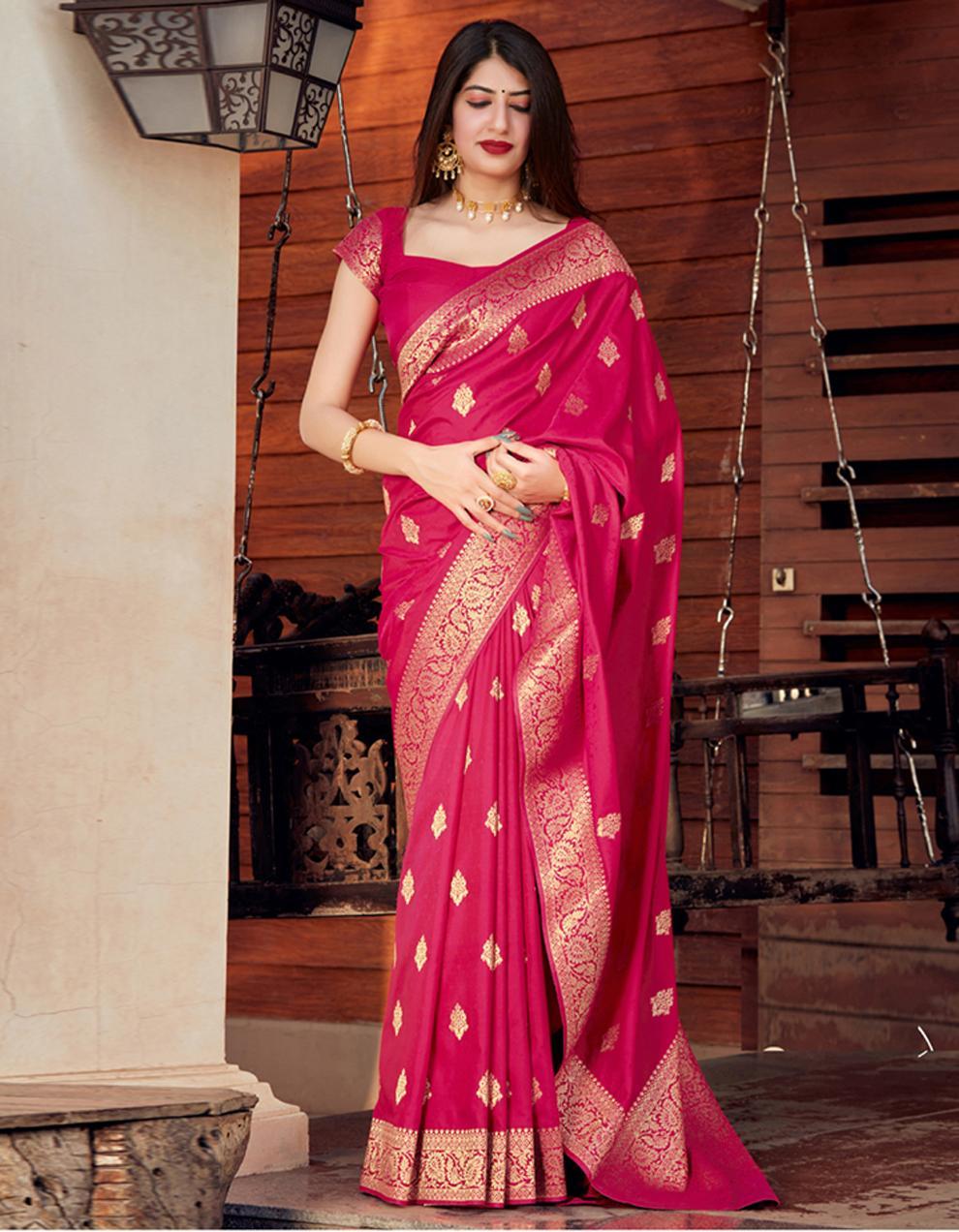 Rani pink Silk Saree With Blouse SD24077