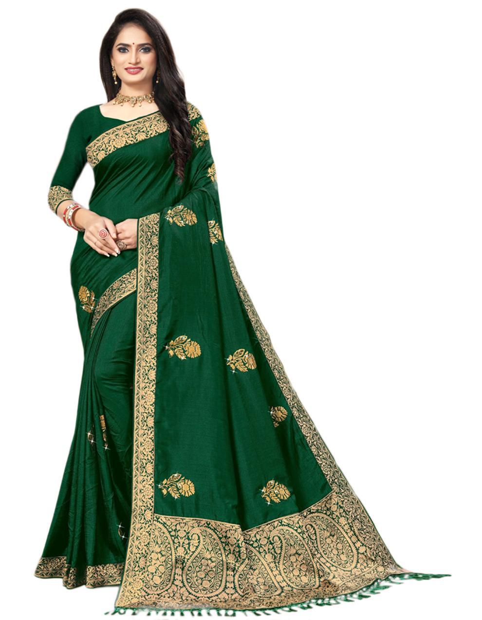 Green Vichitra silk Saree With Blouse IW24348