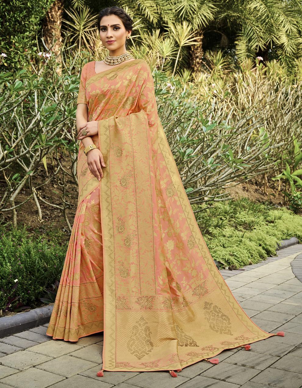 Peach Banarasi Silk Saree With Blouse SD25242
