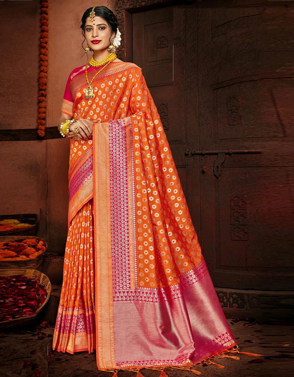 Multicolor Lichi Silk Saree With Blouse SD24106