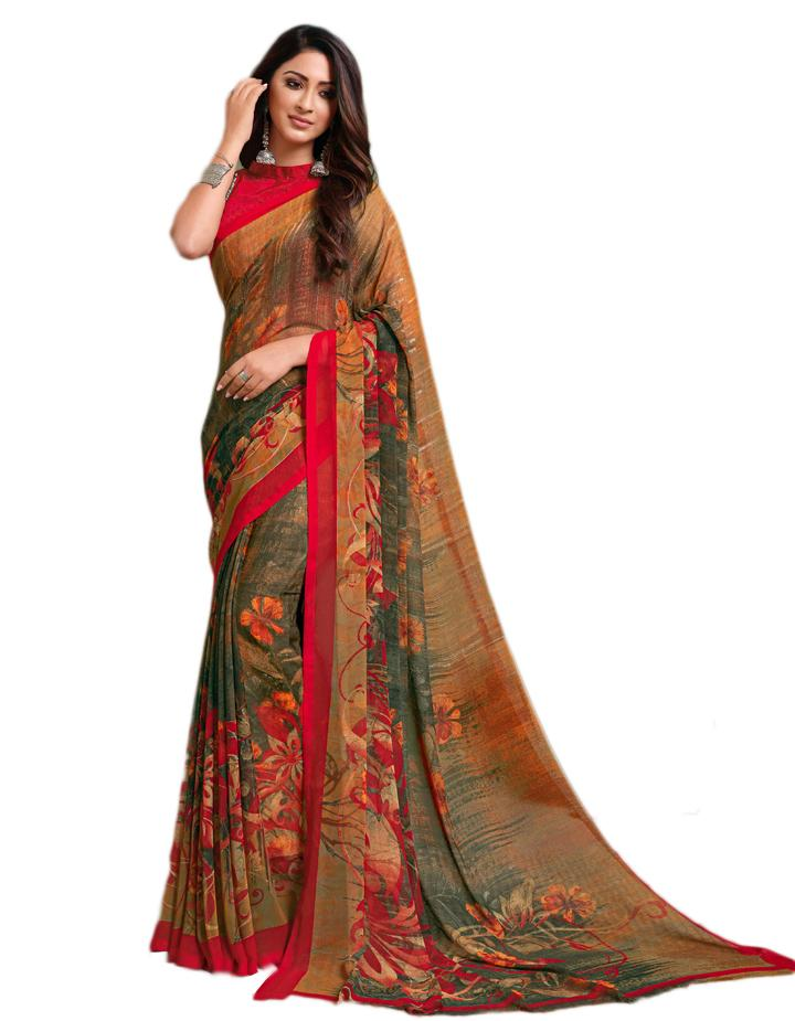 Multi Georgette Saree With Blouse IW24639