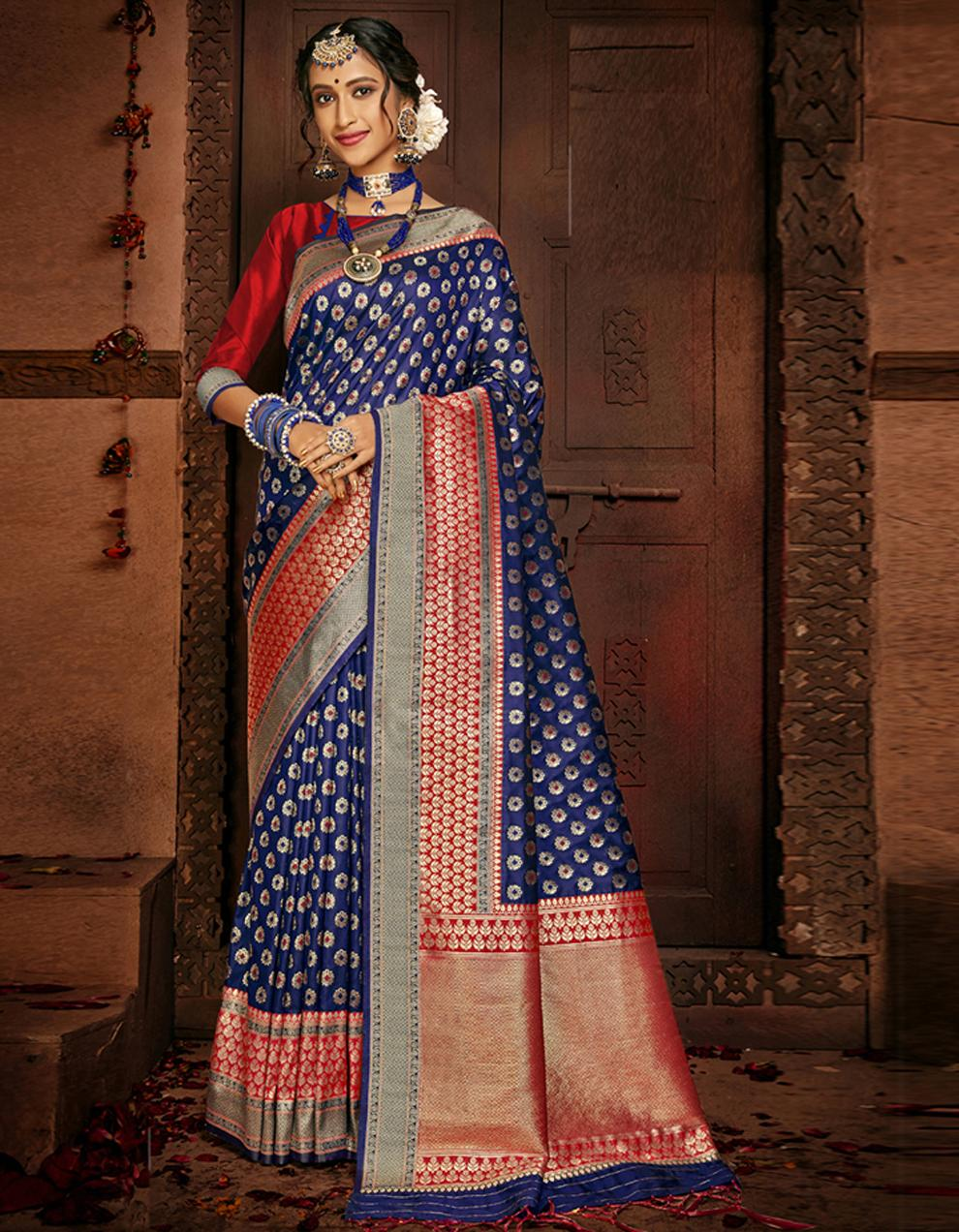 Multicolor Lichi Silk Saree With Blouse SD24105