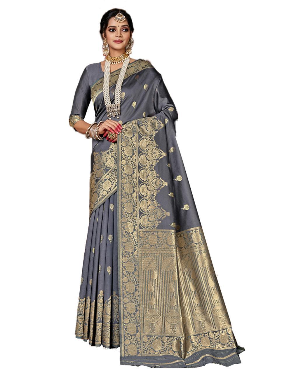 Grey Banarasi Silk Saree With Blouse SD24158