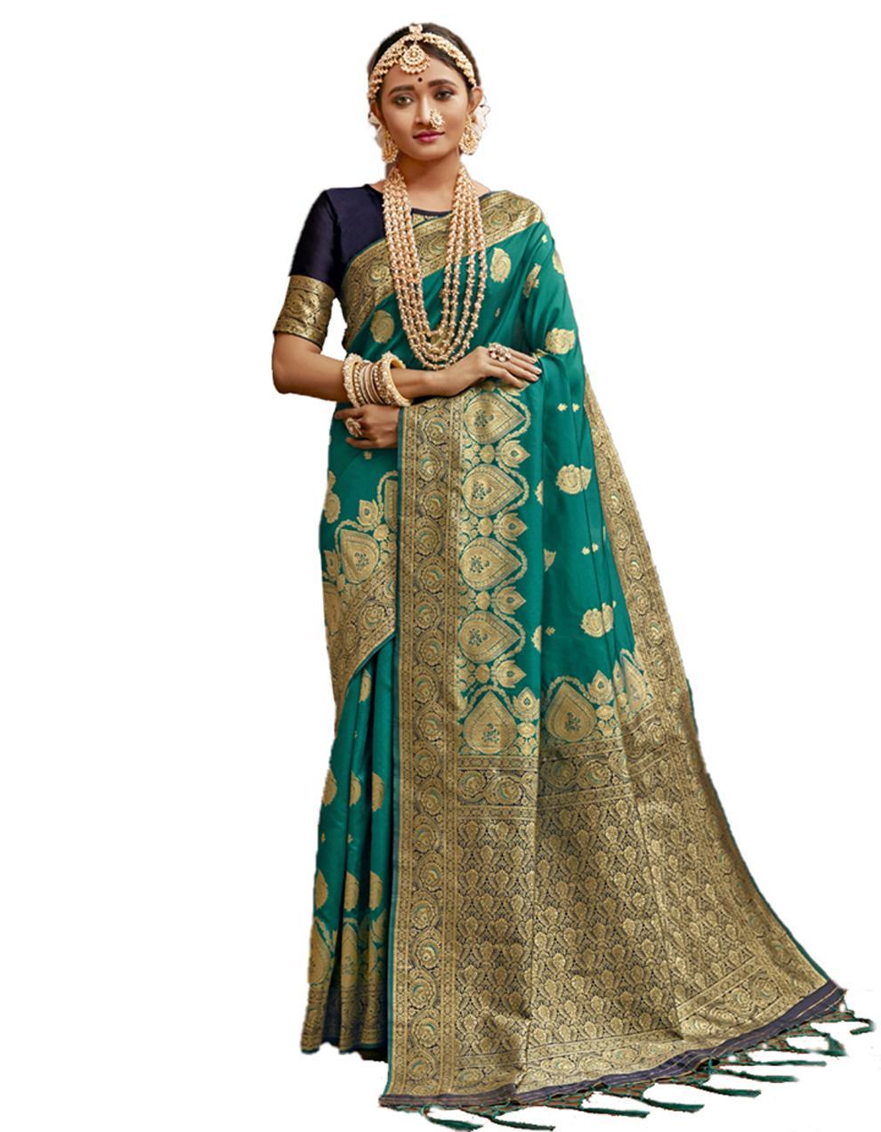 Green Banarasi Silk Saree With Blouse SD24223