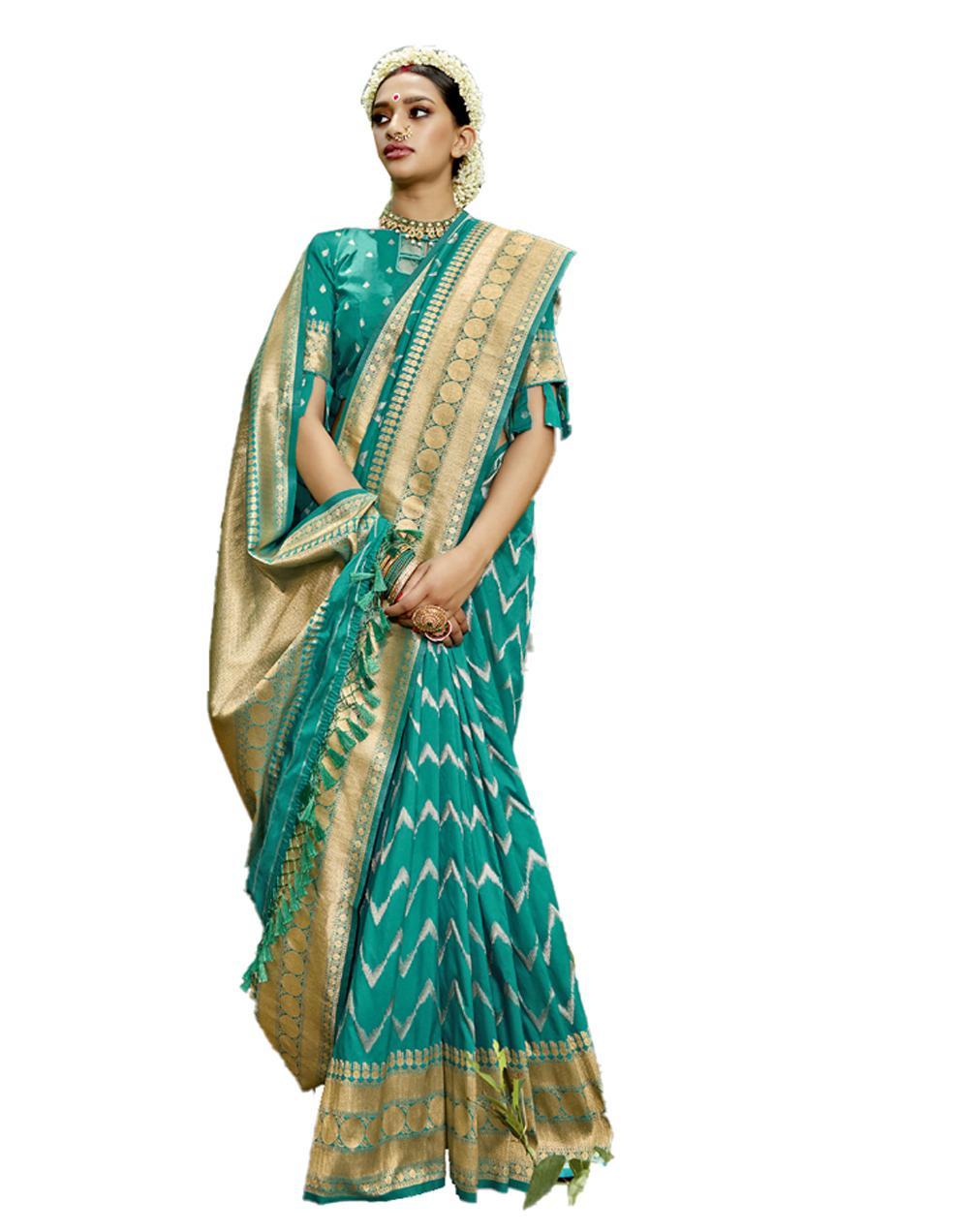 Green Silk Saree With Blouse SD23815