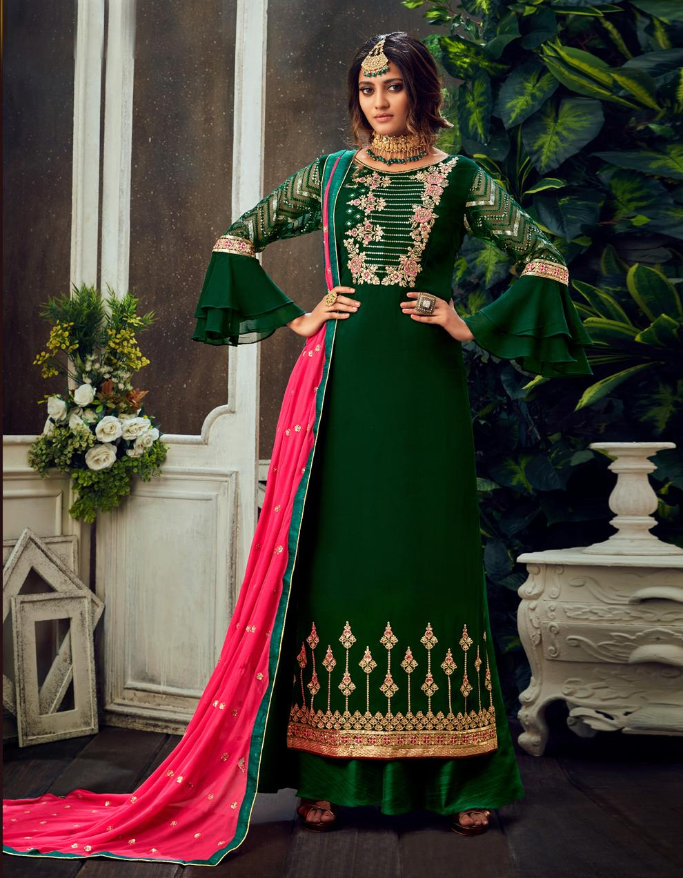 Green Pure Georgette Straight Suit SHL8563